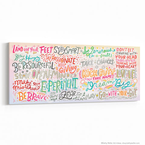 "Be Brave Manifesto Canvas Wall Art 30""x12"""
