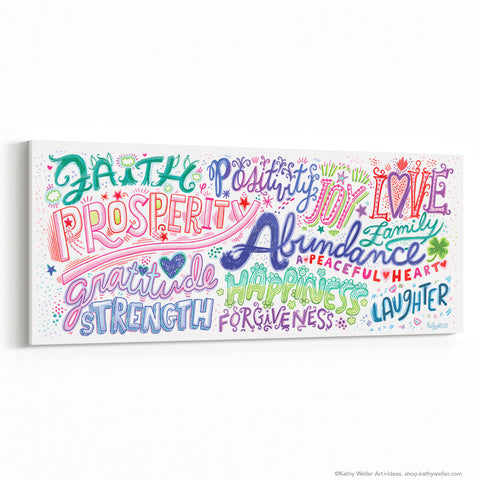 "Gratitude Manifesto Canvas Wall Art 30""x12"""