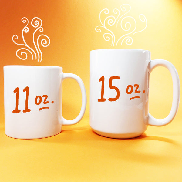 Embrace Imperfection mug features a whimsical and quirky hand lettering design in a bubbly heart with wings and hearts! Pinks and oranges bring the energy! Art by Kathy Weller.