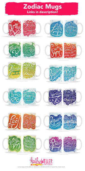 TAURUS Zodiac Astrology Series Hand Lettered Mug