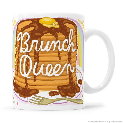 BRUNCH QUEEN Pancakes Hand Lettered Mug