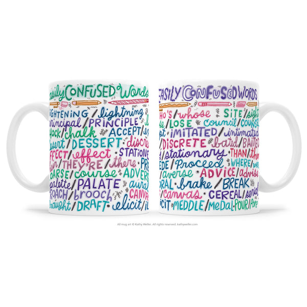 "The ""Easily Confused Words"" mug works as both a funny grammar mug AND as a bonafide reference tool! This is a hand lettered mug with a design that wraps around the entire surface of the mug. Never misspell these words again."