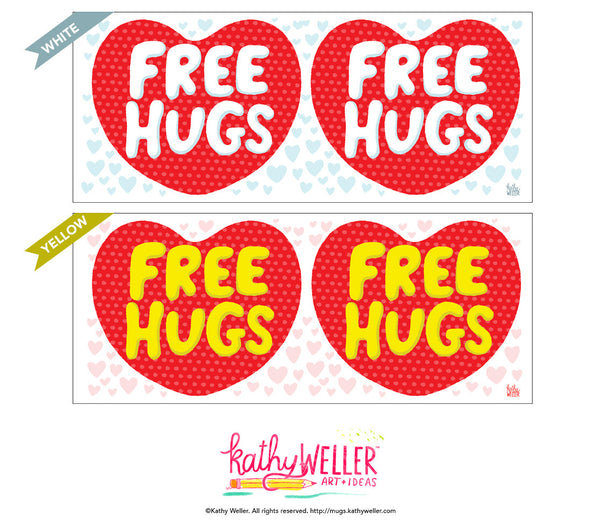 FREE HUGS heart valentine mug, valentine for anyone mug!