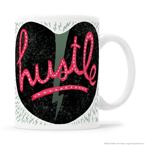 Heart And Hustle Entrepreneur Mug with black heart, pink HUSTLE lettering, and lightning bolt to bring energy, motivation and intention to your mindset.