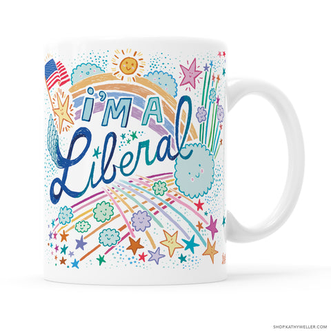Wear your politics along with your can-do attitude, on your mug! Your choice of illustrated, hand-lettered cute Liberal mug with American Flag, or No Flag! Illustrated for you by me, Kathy!