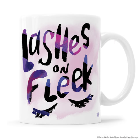 LASHES ON FLEEK mug is a modern, graphic hand-lettered design in shades of pink and purple by Kathy Weller.