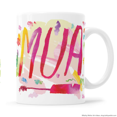 Makeup Artist Colorful Hand Lettered Mug with swatches by Kathy Weller.