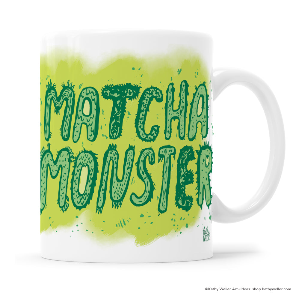Matcha Monster mug merges a Japanese monster aesthetic with an appreciation of green tea! Designed by Kathy Weller.