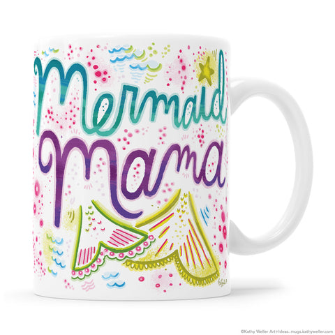 Mermaid Mama Mug and Mermaid Girl Mug