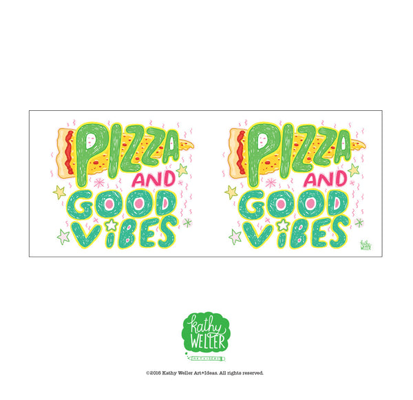 Pizza And Good Vibes Bubble Lettered Mug