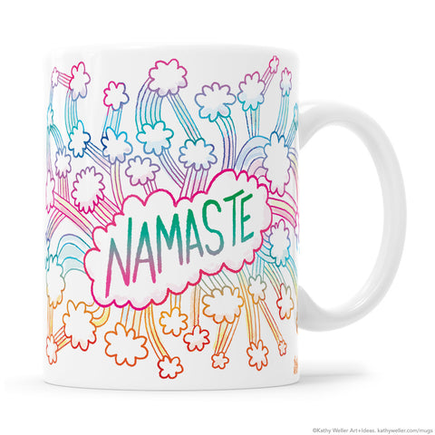 NAMASTE Clouds + Rainbows Mug