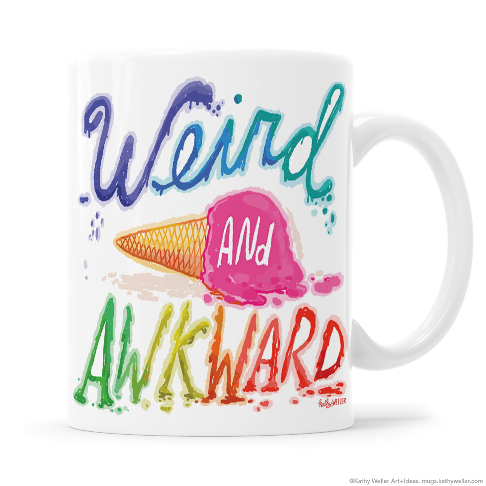 Weird and awkward mug with melting rainbow ice cream cone and drippy hand lettering by Kathy Weller.