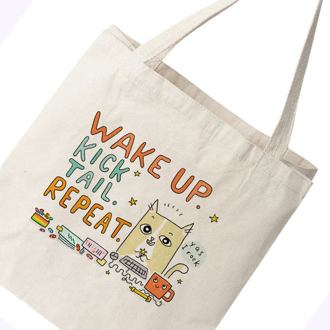 Cats@Work Wake Up Kick Butt Repeat Canvas Tote