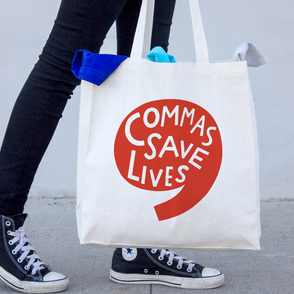 Commas Save Lives Canvas Tote