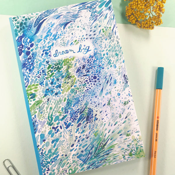 Dream Big Watercolor Ocean Spray Blank Journal - Dot Grid
