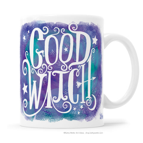 Spread the GOOD WITCH word with the mystical + positive Good Witch mug! This mug features a  white hand-lettered design over a pastel colorscape of purple and blues.