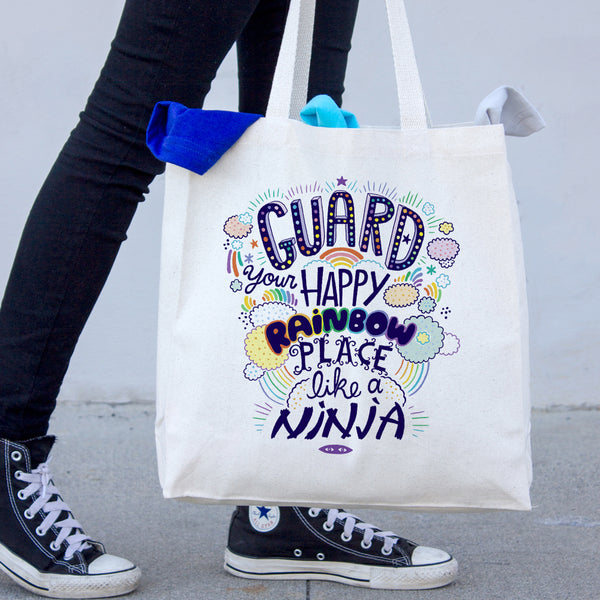 Guard Your Happy Rainbow Place Like A Ninja Canvas Tote