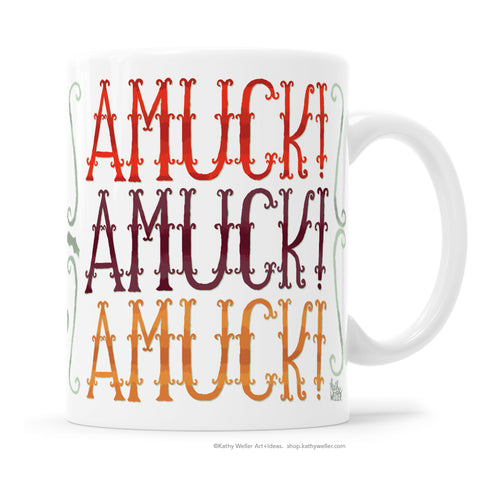 A mug for fans of the cult film Hocus Pocus (and anyone else who likes funny words)! Cool wrought-iron inspired hand lettered design by Kathy Weller Art!