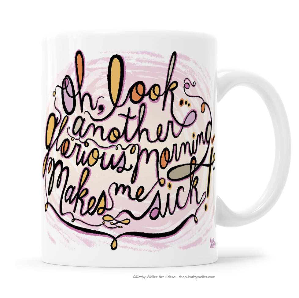 A mug for fans of the cult film Hocus Pocus! Cool, colorful and creepy hand lettered cursive design by Kathy Weller Art.