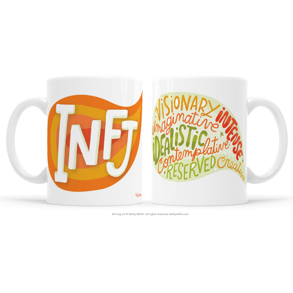 The INFJ mug proudly shares the Myers Briggs Personality Type INFJ in a bright juicy orange design! One side features INFJ and the other features a word bubble full of the INFJ personality attributes. This mug offers a dose of emotional support and acknowledgement to INFJ's everywhere.