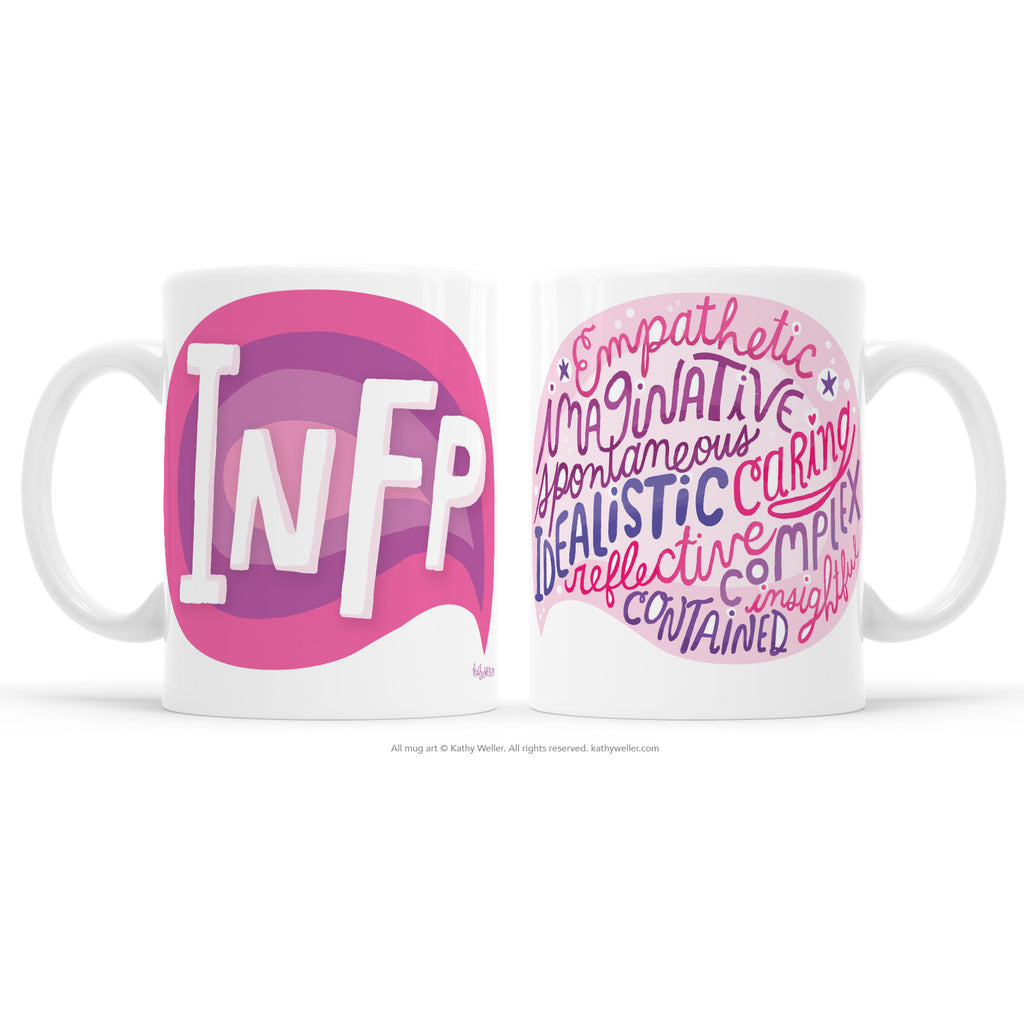 Introvert pride! The INFP mug proudly shares the INFP Myers-BriggsPersonality Type (MBTI) in a multi-toned pink design! One side features INFP and the other features a word bubble full of the INFP personality attributes! This mug offers a dose of emotional support and acknowledgement to INFP's everywhere.