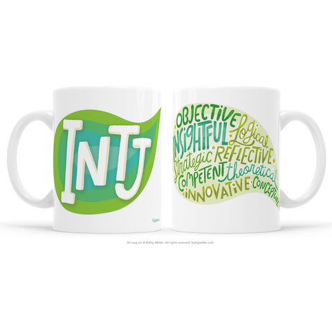 Introvert pride! The INTJ mug proudly shares the INTJ Myers-BriggsPersonality Type (MBTI) in a multi-toned pink design! One side features INTJ and the other features a word bubble full of the INTJ personality attributes! This mug offers a dose of emotional support and acknowledgement to INTJ's everywhere.