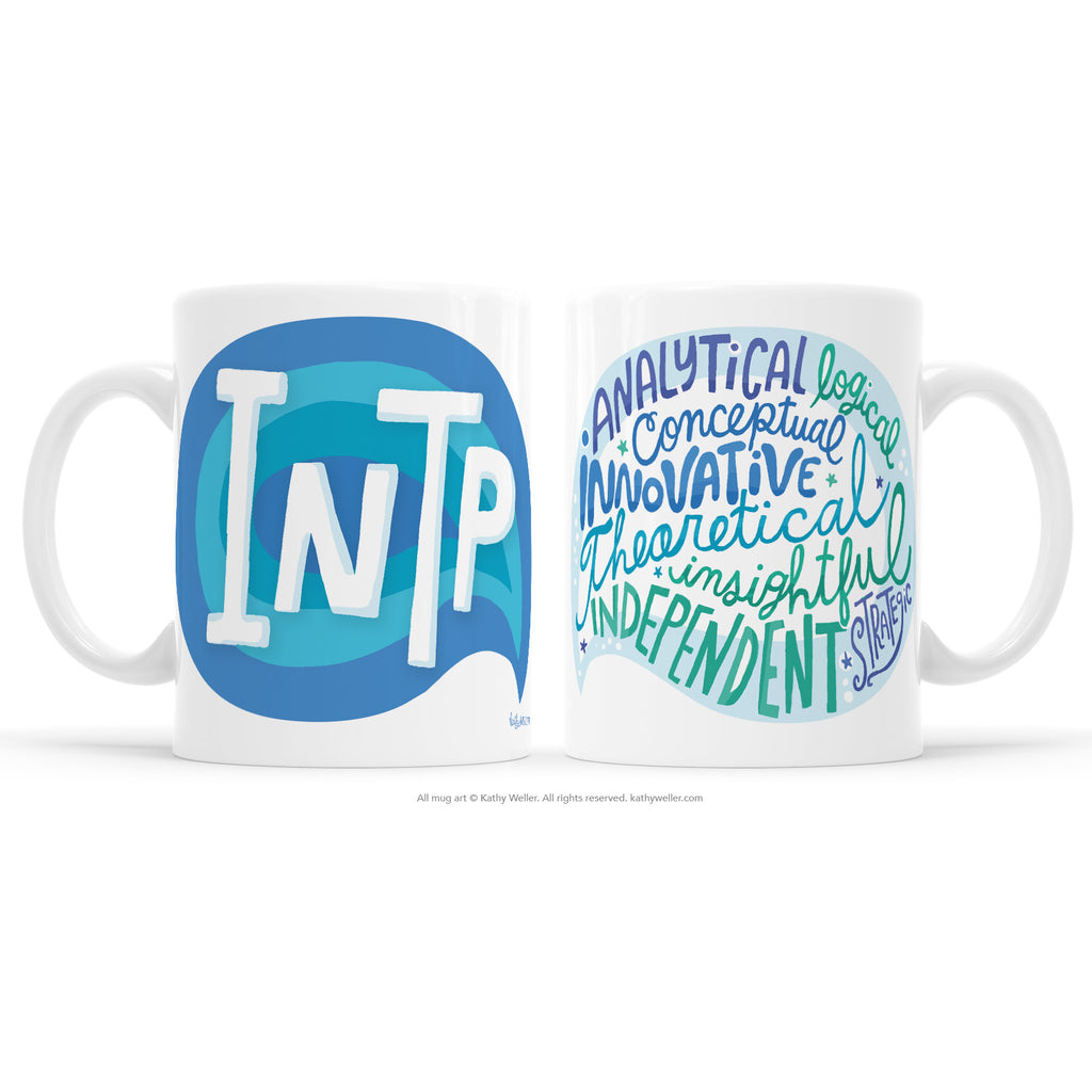Introvert pride! The INTP mug proudly shares the INTP Myers-Briggs Personality Type (MBTI) in a multi-toned blue design! One side features INTP and the other features a word bubble full of the INTP personality attributes! This mug offers a dose of emotional support and acknowledgement to INTP's everywhere.