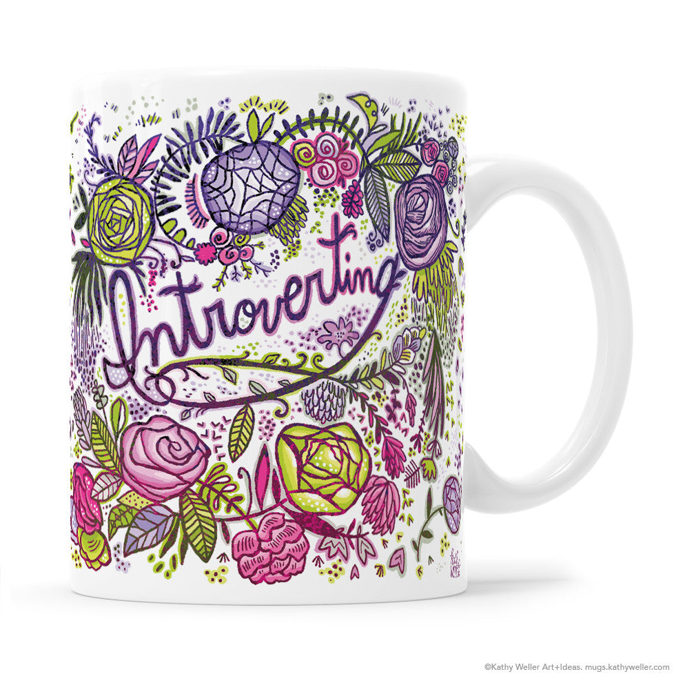 This gorgeously ornate purple floral Introverting mug hits all the right gift notes for your introvert mom, sister or BFF! Give them a beautiful gift AND do them a favor in the process! They'll get more quiet time at work than ever before, and they'll have YOU to thank for it! (Yay you!)  :D