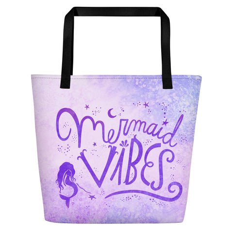 Mermaid Vibes Purple Beach Bag