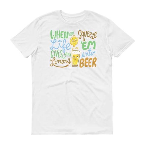When life gives you lemons, squeeze 'em into beer! A cute + colorful, retro-cartoony t-shirt design with some wise words about lemons and beer, by Kathy Weller Art + Ideas!