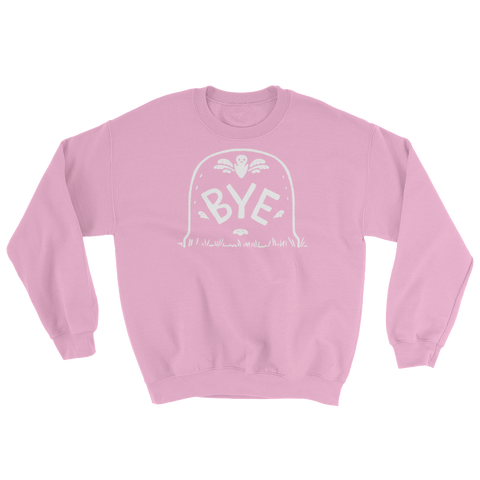 """Bye"" on a gravestone on a cute pink sweatshirt. Perfect for a pink Halloween by Kathy Weller Art."