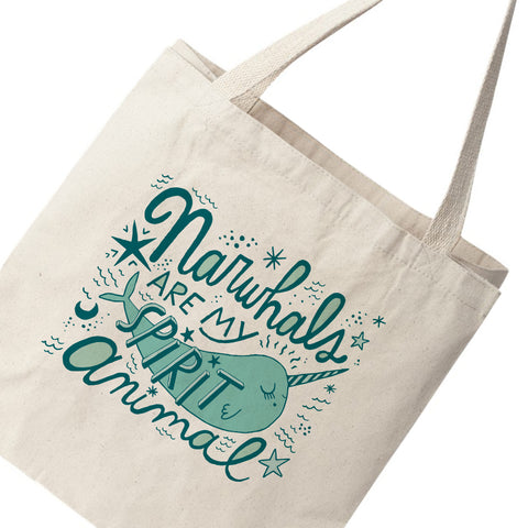 Narwhals Are My Spirit Animal Canvas Tote