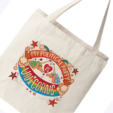 My Political Party Is Unicorns Canvas Tote