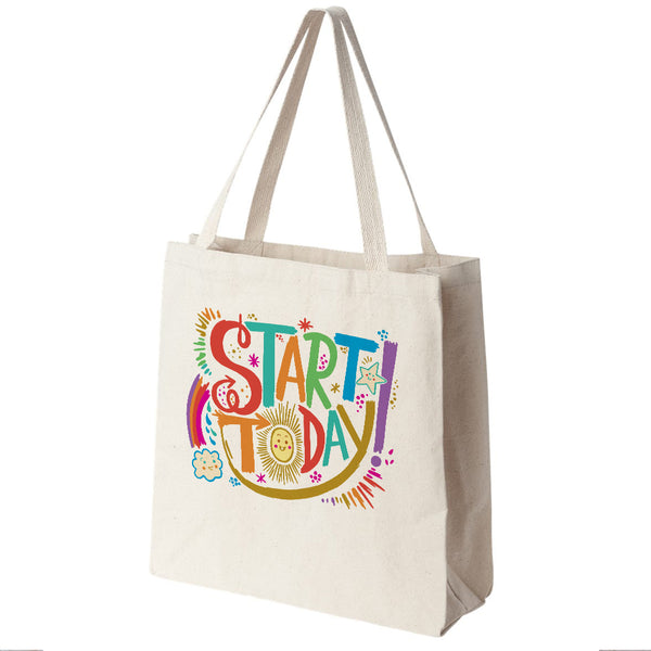 Start Today Canvas Tote