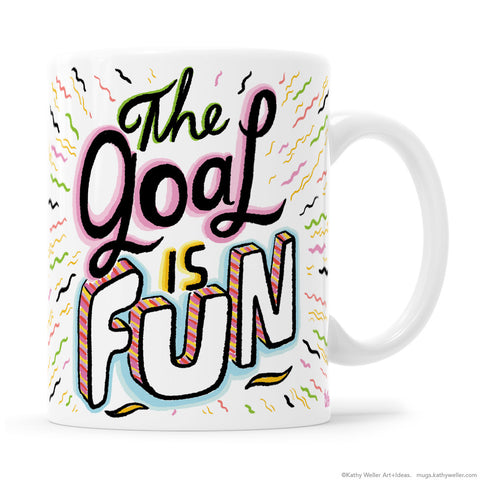 The Goal Is Fun hand lettering mug is the perfect mug to share your positivity with the rest of the team! It is also a sarcastically humorous mug, if that suits the situation! Regardless of your situation, you're sure to smile when drinking from this FUN mug. :D