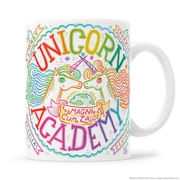 Brag about your smarts, your talents, your unicorniness, AND your rainbow-drenched good taste with the Unicorn Academy mug! The perfect mug for the smartest magical geniuses in the universe!