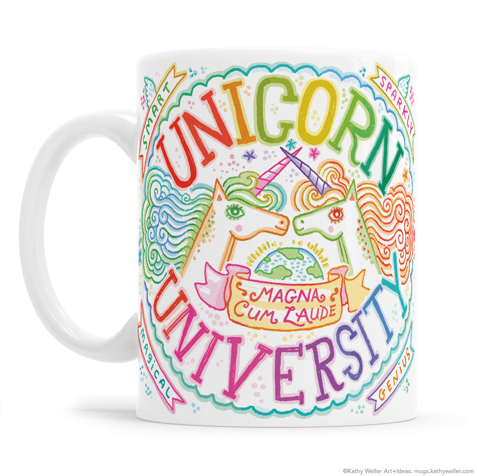 Brag about your smarts, your talents, your unicorniness, AND your rainbow-drenched good taste with the Unicorn University Crest Rainbow mug!