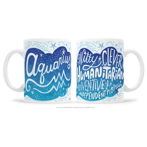 "The perfect gift for the proud Aquarius! One side features hand-lettered ""Aquarius"" in an organic decorative design, and the opposite side features a hand-lettered ""cloud"" of attributes! This is a unique and special originally hand-lettered (no fonts) design by artist Kathy Weller for your enjoyment!"