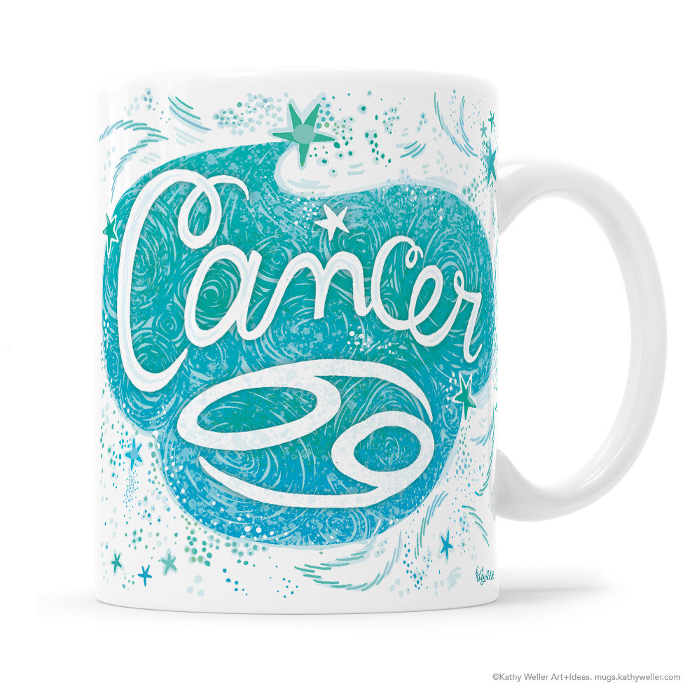"The perfect gift for the proud Cancer! One side features hand-lettered ""Cancer"" in an organic, fluid design, and the opposite side features a hand-lettered ""cloud"" of Cancer's attributes! This is a unique and special originally hand-lettered (no fonts) design by artist Kathy Weller for your enjoyment!"