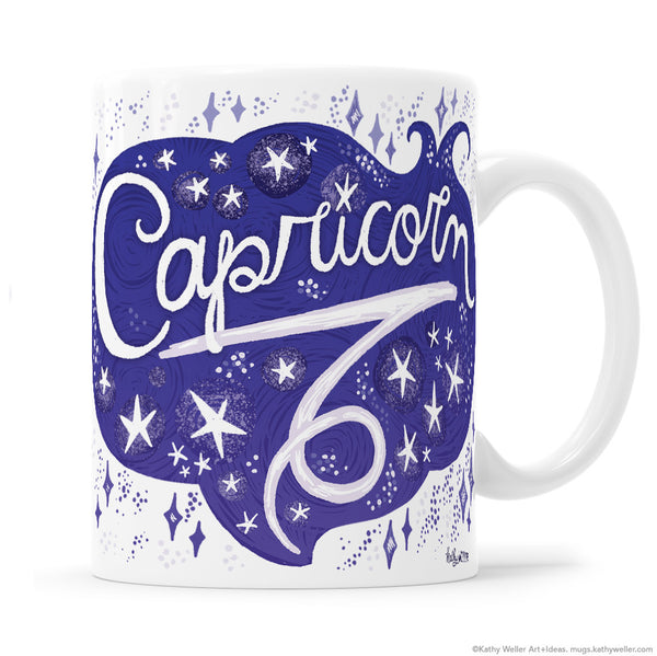 "The perfect gift for the one born under the astrological Capricorn zodiac sign! One side features hand-lettered ""Capricorn"" in an organic, flowing, celestial design, and the opposite side features a hand-lettered ""cloud"" of Capricorn's attributes! This is a unique and special originally hand-lettered (no fonts) design by artist Kathy Weller for your enjoyment!"