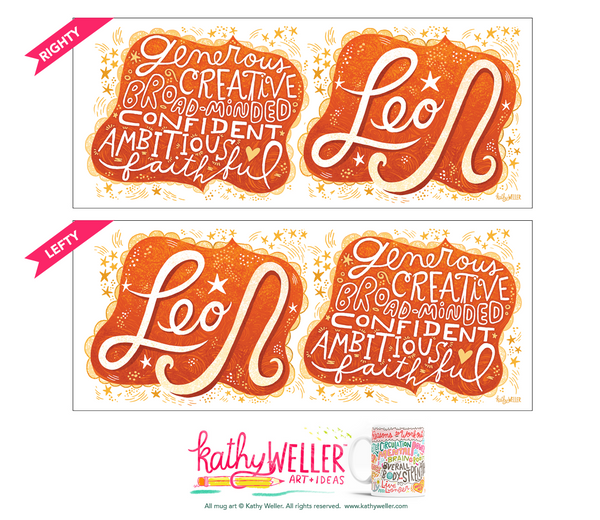 "The perfect gift for the one born under the astrological Leo zodiac sign! One side features hand-lettered ""Leo"" in a flowing, fiery, energetic design, and the opposite side features a hand-lettered ""cloud"" of Leo's attributes! This is a unique and special originally hand-lettered (no fonts) design by artist Kathy Weller for your enjoyment!  This is a high-quality white ceramic mug, dishwasher and microwave safe. Professionally printed, safely packaged and carefully shipped by my partners Spoke in Atlanta GA"