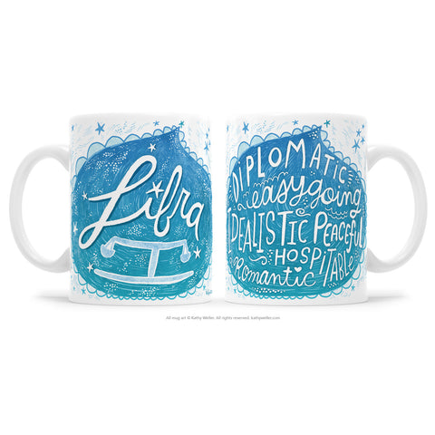 "The perfect gift for the one born under the astrological Libra zodiac sign! One side features hand-lettered ""Libra"" in a flowing, airy, dreamscape design, and the opposite side features a hand-lettered ""cloud"" of Libra's attributes! This is a unique and special originally hand-lettered (no fonts) design by artist Kathy Weller for your enjoyment!"