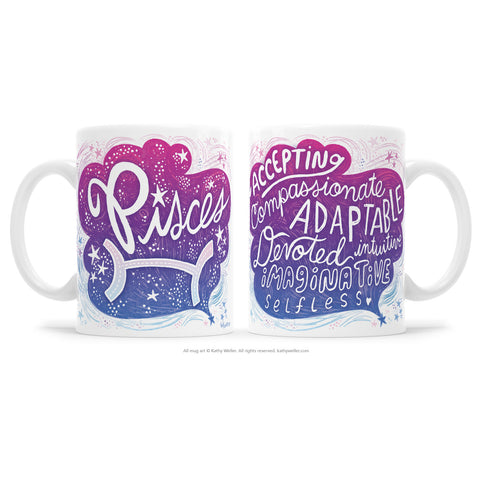 "The perfect gift for the one born under the astrological Pisceszodiac sign! One side features hand-lettered ""Pisces"" in a flowing, deep sea design, and the opposite side features a hand-lettered ""cloud"" of Pisces' attributes!"