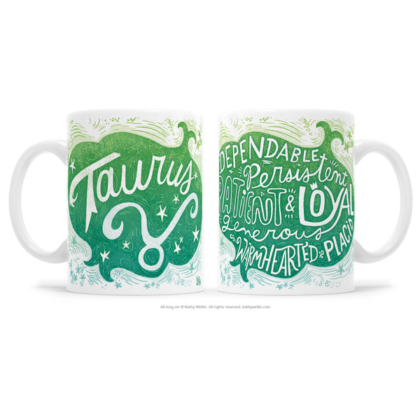 "The perfect gift for the one born under the astrological Taurus zodiac sign! One side features hand-lettered ""Taurus"" in a beautiful blue green ombre design, and the opposite side features a hand-lettered ""cloud"" of Taurus's attributes!"