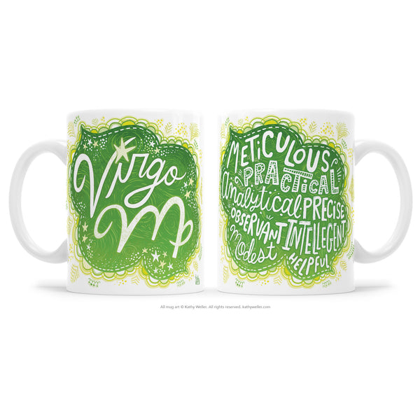 "The perfect gift for the one born under the astrological Virgo zodiac sign! One side features hand-lettered ""Virgo"" in a beautiful green ombre design, and the opposite side features a hand-lettered ""cloud"" of Virgo's attributes! This is a unique and special originally hand-lettered (no fonts) design by artist Kathy Weller for your enjoyment!"