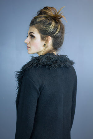 Skinn faux fur collar cardigan