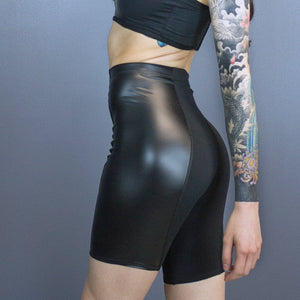 Royce princess seam bike shorts - faux leather detail