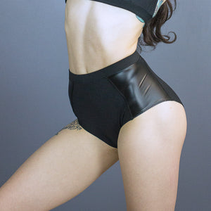 Kenzie high waisted cheekies - faux leather detail