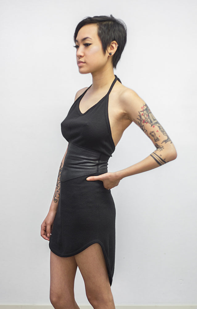 Size 10 Surya faux leather detail halter dress
