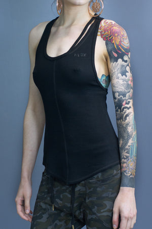 Landry detached binding relaxed fit tank - black
